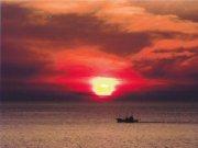 夕日 鼠ヶ関漁船クルージング